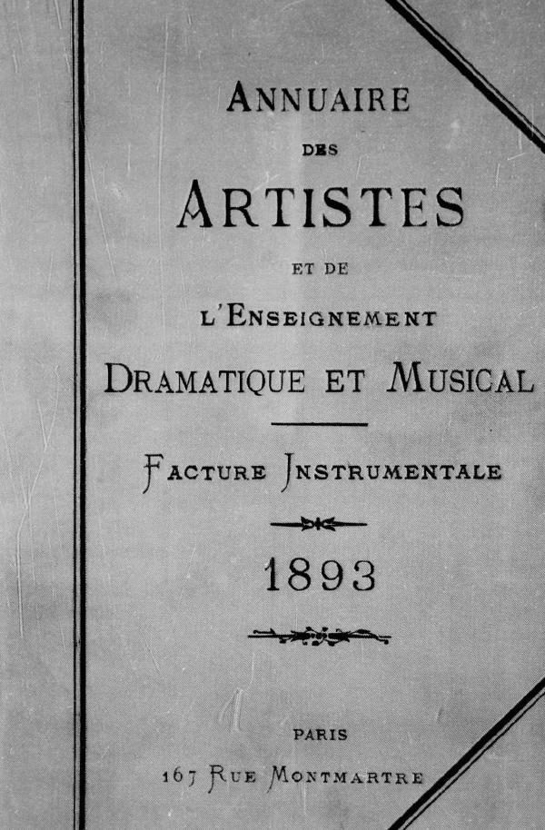 616e398c3a9 Annuaire des Artistes 1893